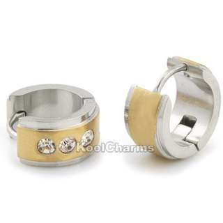 Gold /Silver Tone Rhinestone Stainless Steel MENS Hoop Earrings KE50