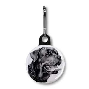 Rottweiler DOG Pencil Sketch Art 1 inch Button Style Zipper Pull