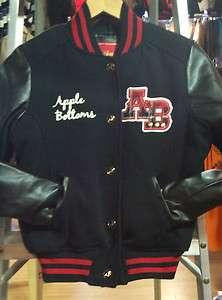 Apple Bottom Varsity Jackets For Women (Black/Red)