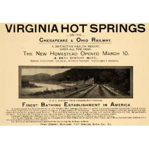 1902 Ad Virginia Hot Springs Hotel Chesapeake & Ohio RR