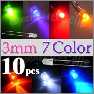 10 x 3mm Round 7 Color LED Light Emitting Diode Lamp