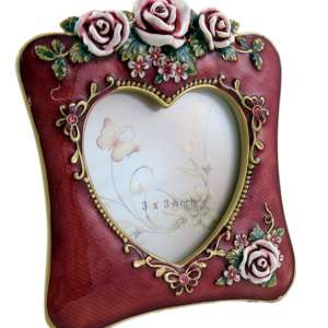 red picture photo frame vintage style pink rose heart shaped 3x3 inch