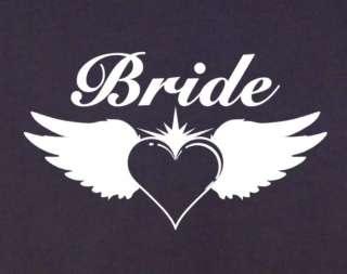 Angel Wings BRIDE Ladies T Shirt XS XXL wedding heart