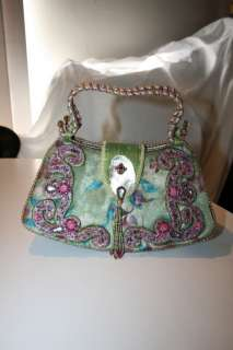 MARY FRANCES Beaded Jeweled Velvet Minaudière Hand Bag