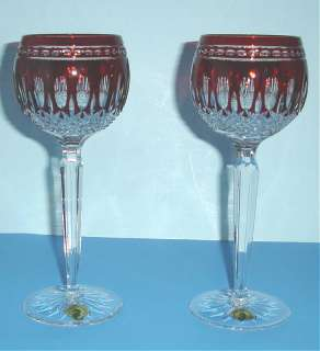 Waterford Clarendon Ruby Wine Hock Glasses Set of 2 New