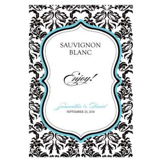 Personalized Damask Theme Wine Bottle Labels Wedding Love Birds Custom