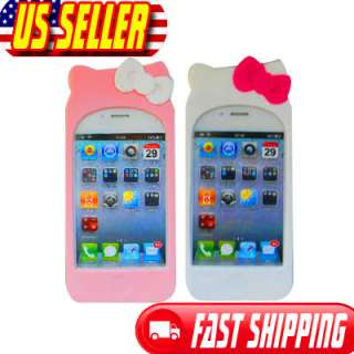 Pink Hello Kitty Silicone Soft Case Cover For iPhone 4 4G 4S