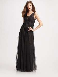Teri Jon Gown Tulle Black Beaded Lace 14 NWT Portman