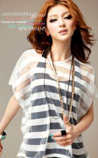 Women Sexy Casual shirt + vest short sleeve striped two piece set T
