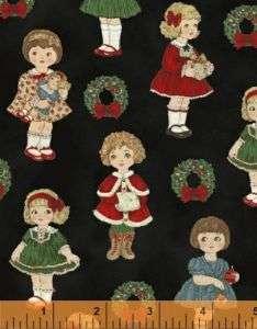 Windham Fabrics Small PAPER DOLL CHRISTMAS on Black yds