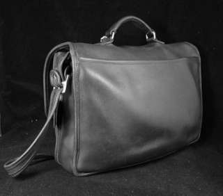 EXACUTIVE COACH BLACK LEATHER BRIEFCASE, STYLE 5180, Chrome Hardware