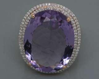 30.20Ct Solid 14Kt Rose Gold VS Diamond Amethyst Ring