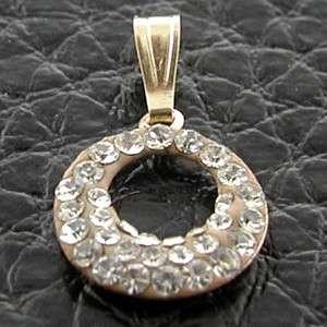 ESTATE 14k Yellow Gold Artsy Diamond Circle Swirl Charm Pendant