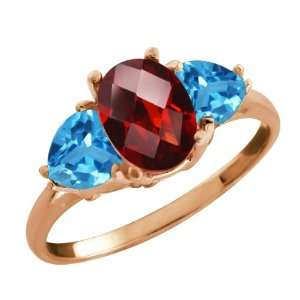2.56 Ct Checkerboard Red Garnet and Swiss Blue Topaz 18k