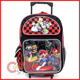 Wii Super Mario Kart School Roller Backpack Rolling Bag 16 Large