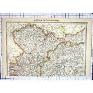 Antique Map Austria Western Hungary Prague Vienna Cracow
