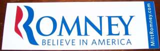 MITT ROMNEY GOP President Official 2012 Bumper Sticker Decal BELIEVE