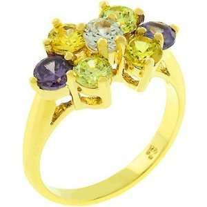 14k Gold Bonded Cz Ring with Round Cut Purple, Light Green
