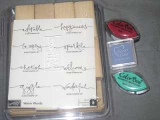 Stampin Up WARM WORDS RUBBER STAMP SET, NEW   PLUS 3 INK PADS