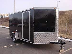7x12 enclosed cargo motorcycle quad trailer. with brakes.