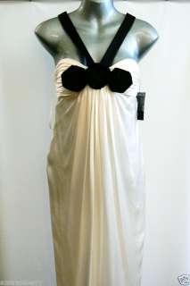 HOUSE OF DEREON WHITE SILK BLACK ROSES LONG DRESS 2