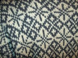 gorgeous pewter gray snowflake on white handknit sweater from the