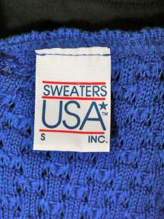 Vtg 80s Punk Knit Cardigan Sweater Vest Electric Blue S
