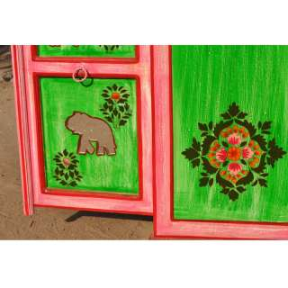 Whimsical Hand Painted Solid Wood Storage Kitchen Cabinet w Floral