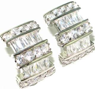 Latest collection Graceful style White topaz.925 SILVER Earrings 0.6