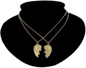 BEST FRIENDS BFF Broken Heart Pendant Necklace SET