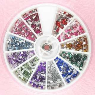 1200 Heart 2.5mm Nail Art Rhinestones Mixed Wheel 12wHE