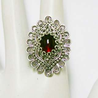 925 SILVER & RED GARNET ARTISAN FILIGREE RING SIZE 8