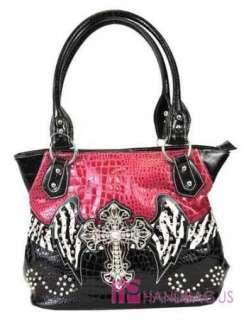 Western Patent Big Crystal Zebra ANGEL WING CROSS Tote Bag Handbag
