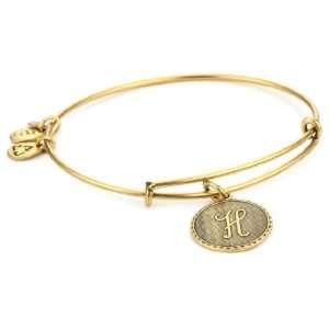 Alex and Ani Bangle Bracelet Bar H Russian Gold Plated
