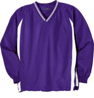 Sport Tek   Tipped V Neck Raglan Wind Shirt WIndshirt. JST62.