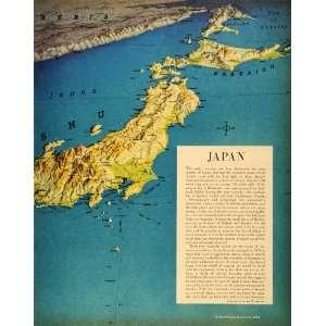 1944 Print Map Japan Richard Harrison Kyushu Hokkaido Wartime World