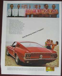 1968 CAR AD FORD MUSTANG FASTBACK GT ONLY MUSTAND MAKES IT HAPPEN