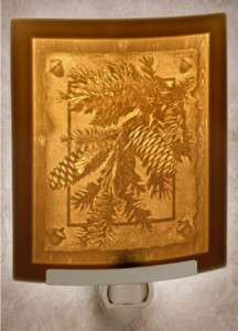 Lithophane Night Light   Pine Cones   Fine Porcelain