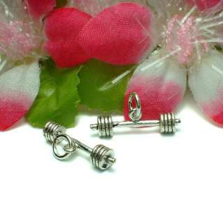 925 STERLING SILVER BARBELL WEIGHTLIFTER CHARM PENDANT