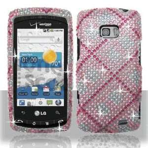 LG VS740 Ally US740 Apex Full Diamond Hot Pink Plaid Case
