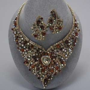 Crystals Heart Jeweled Bib Statement Necklace & Earrings Set