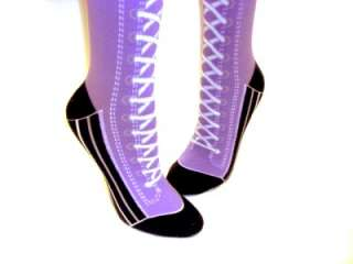 Knee High Shoe Boot Lace Socks Novelty Converse Crazy Sock Day