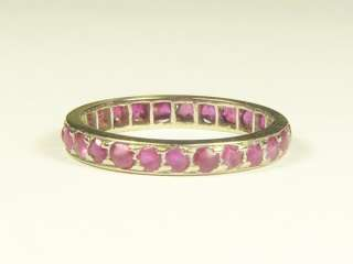ANTIQUE ENGLISH 9K WHITE GOLD RUBY ETERNITY RING CHILDS c1910 On