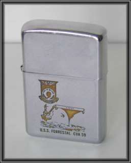 1970 USS FORRESTAL Navy Aircraft Carrier Ship Vtg ZIPPO LIGHTER