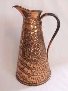 ANTIQUE JOSEPH SANKEY COPPER WATER JUG   J.S & S 10.5   #D30