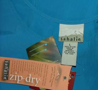 Sahalie blue water scooter dress womens size large L NEW zip dry SPF