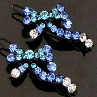 ADDL Item  2 pc Austrian rhinestone crystal bow tie hair