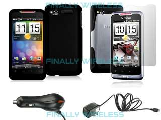 Black Hard Cover CASE+LCD Screen Protector+CAR & HOME Chargers HTC