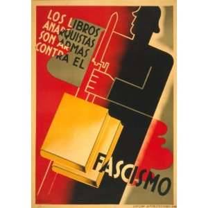 1936 Spanish Poster Anarchistic books are weapons