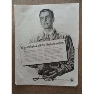 Bell Telephone System, Vintage 40s full page print ad. (man/its good